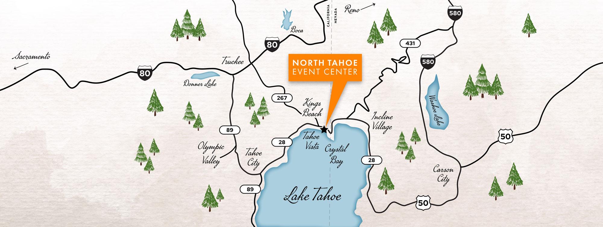 North Lake Tahoe map
